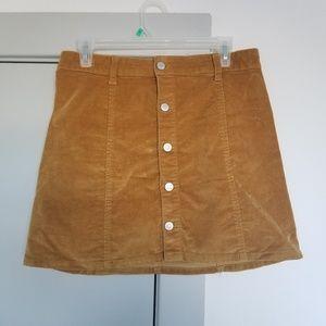 Burnt yellow corduroy mini a-line skirt